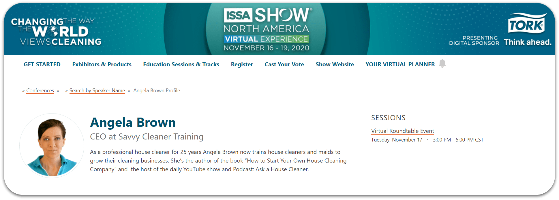Angela Brown at the ISSA Virtual Show 2020